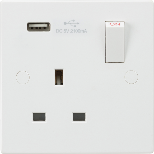 13A 1G Switched Socket with USB Charger 5V DC 2.1A